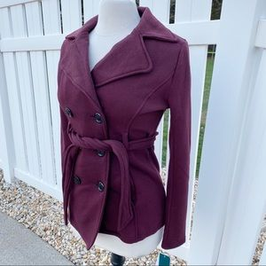 NWT Sebby Burgundy Double Breasted Peacoat
